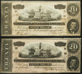 Confederate Notes:1864 Issues, T67 $20 1864 Two Examples Crisp Uncirculated or Better.. ... (Total: 2 notes)