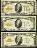Small Size:Gold Certificates, Fr. 2400 $10 1928 Gold Certificates. Three Examples. Fine-Very Fine or Better.. ... (Total: 3 notes)