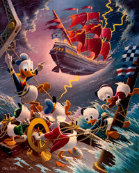 Carl Barks Afoul of the Flying Dutchman Signed Limited Edition Lithograph Print #83/345 (Another Rainbow, 1985)