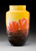 Glass, Gallé Blow-Out Cameo Glass Waterlily Vase, circa 1920. Marks: gallé. ...