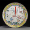 Metalwork, A Chinese Canton Enamel Charger, Qing Dynasty, 18th century. 3-1/8 x 21-1/2 inches (7.9 x 54.6 cm). ...