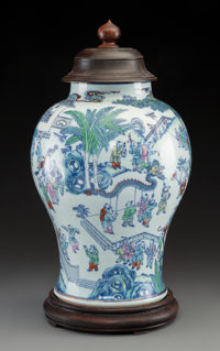 A Large and Finely-Painted Chinese Doucai 100 Boys Porcelain Baluster Jar, Qing Dyna