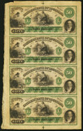 Obsoletes By State:Louisiana, Shreveport, LA- Citizens' Bank of Louisiana at Shreveport $50-$50-$50-$50 18__ Uncut Sheet Choice About Uncirculated.. ...