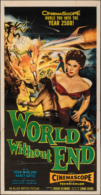 """World Without End (Allied Artists, 1956). Folded, Fine+. Three Sheet (41"""" X 80""""). Science Fiction"""