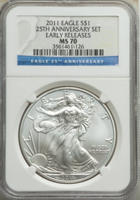 2011 $1 Silver Eagle, 25th Anniversary, Early Releases, MS70 NGC. This lot will also include the following: 2011-S $1 S...