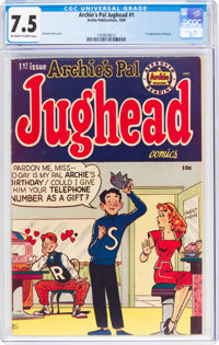 Archie's Pal Jughead #1 (Archie, 1949) CGC VF- 7.5 Off-white to white pages