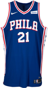 2017-18 Joel Embiid Game Worn Philadelphia 76ers Jersey from Opening Night with Team Letter