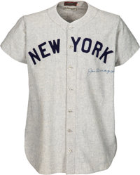 1947 Joe DiMaggio World Series Game Five Worn & Signed New York Yankees Jersey, MEARS A9 & SGC Excellent--Photo...