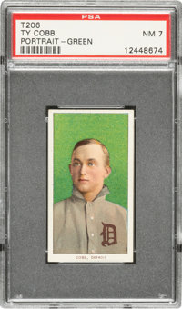 1909-11 T206 Piedmont 150/25 Ty Cobb Green Background PSA NM 7
