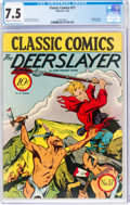 Golden Age (1938-1955):Classics Illustrated, Classic Comics #17 The Deerslayer - First Edition (Gilberton, 1944) CGC VF- 7.5 Cream to off-white pages....