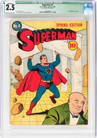 Superman #4 Cover Married (DC, 1940) CGC Qualified GD+ 2.5 Off-white to white pages