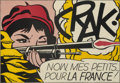 Prints & Multiples, Roy Lichtenstein (1923-1997). CRAK!, 1964. Offset lithograph in colors on wove paper. 18-3/4 x 27-1/4 inches (47.6 x 69....