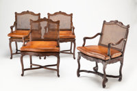A Set of Four Continental Louis XV-Style Walnut and Cane Armchairs and a Neoclassical-Style Dining Table, 20th century 3...