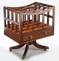 Furniture, An English Regency Mahogany and Brass Claw Foot Canterbury, 19th century . 21-3/4 x 18 x 14-1/2 inches (55.2 x 45.7 x 36.8 c...