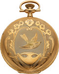 Timepieces:Pocket (post 1900), Waltham Ornate 14k Gold 16 Size Hunters Case, circa 1919