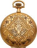 Timepieces:Pocket (post 1900), Rockford Unused 14k Gold 12 Size Ornate Hunters Case, circ...