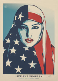Shepard Fairey (b. 1970) Greater Than Fear, from We The People (Large Format), 2017 Screenprint in colors on cream