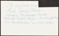 """Autographs:Index Cards, Earle """"Greasy"""" Neale Signed Index Card...."""