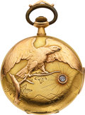 Timepieces:Pocket (post 1900), Swiss 18k Gold Minute Repeater, Eagle & Diamond Motif, circa 1905. ...