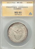 Philippines: USA Administration Peso 1911-S MS60 Details (Corroded, Cleaned) ANACS
