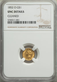 1852-O G$1 -- Cleaned -- NGC Details. Unc. Mintage 140,000....(PCGS# 7520)