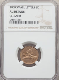 1858 1C Small Letters -- Cleaned -- NGC Details. AU. NGC Census: 63 in 50, 1000 finer (12/19). PCGS Population: 90 in...