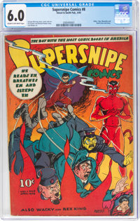 Supersnipe Comics #8 (Street & Smith, 1943) CGC FN 6.0 Cream to off-white pages