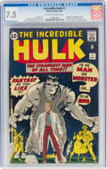Silver Age (1956-1969):Superhero, The Incredible Hulk #1 (Marvel, 1962) CGC VF- 7.5 Off-white to white pages....