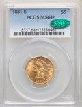 1881-S $5 MS64+ PCGS. CAC. PCGS Population: (111/12 and 13/0+). NGC Census: (114/22 and 4/0+). CDN: $1,000 Whsle. Bid fo...