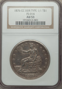 1876-CC T$1 Doubled Die Reverse AU53 NGC. NGC Census: (4/22). PCGS Population: (3/20). CDN: $2,070 Whsle. Bid for NGC/PC...