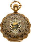 Timepieces:Pocket (pre 1900) , Elgin 18k Gold And Enamel 6 Size With Fancy Dial, circa 1880. ...