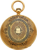 Timepieces:Pocket (pre 1900) , Waltham Mint 18k Gold And Enamel 10 Size P.S. Bartlett, ci...