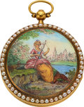 Timepieces:Pocket (pre 1900) , Swiss Gold, Enamel And Pearl Verge Fusee, circa 1830