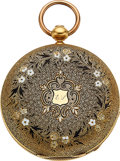 Timepieces:Pocket (pre 1900) , Waltham 18k Gold And Enamel 10 Size Early Key Wind, circa ...