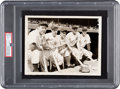 Baseball Collectibles:Others, 1938 New York Yankees Lineup Featuring Lou Gehrig & Joe DiMaggio Original News Service Photograph, PSA/DNA Type 1. ...