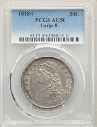 1818/7 50C Large 8 AU50 PCGS. PCGS Population: (21/89). NGC Census: (0/0). CDN: $1,200 Whsle. Bid for NGC/PCGS AU50...