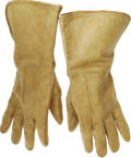 "Movie/TV Memorabilia:Costumes, John Wayne's Cavalry Gloves From ""The Horse Soldiers."" A nice pairof leather US Cavalry-style riding gloves worn by Wayne i..."