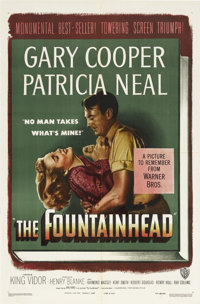 "The Fountainhead (Warner Brothers, 1949). One Sheet (27"" X 41""). Gary Cooper stars as architect Howard Roarke..."