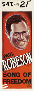 "Movie Posters:Black Films, Song of Freedom (British Lion Film Corp., 1936). Australian Daybill(15"" X 40""). Paul Robeson, with a contract giving him fi..."