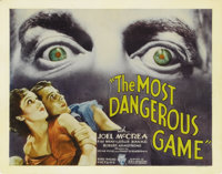 "The Most Dangerous Game (RKO, 1932). Title Lobby Card (11"" X 14""). In one of the best horror films to emerge f..."