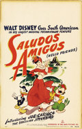 "Movie Posters:Animated, Saludos Amigos (RKO, 1940). Window Card (14"" X 22""). This 43-minuteanimated feature is Walt Disney's contribution to the wa..."