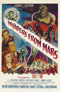"Movie Posters:Science Fiction, Invaders From Mars (20th Century Fox, R-1955). One Sheet (27"" X41""). The artwork on this beautiful one sheet is far superio..."