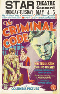 "Movie Posters:Drama, The Criminal Code (Columbia, 1931). Window Card (14"" X 22""). At thetime of this film, Howard Hawks was just developing his ..."