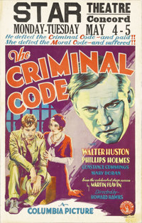 """The Criminal Code (Columbia, 1931). Window Card (14"""" X 22""""). At the time of this film, Howard Hawks was just d..."""
