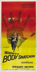 """Movie Posters:Science Fiction, Invasion of the Body Snatchers (Allied Artists, 1956). Three Sheet (41"""" X 81""""). Kevin McCarthy and Dana Wynter run from the ..."""