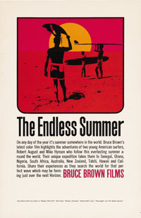 """The Endless Summer (Cinema V, 1966). Poster (11"""" X 17""""). Two young American surfers, Robert August and Mike Hy..."""