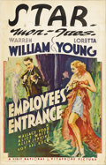 "Movie Posters:Drama, Employees' Entrance (Warner Brothers/First National, 1933). WindowCard (14"" X 22""). Warren William plays the lecherous boss..."