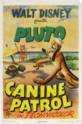 "Movie Posters:Animated, Canine Patrol (RKO, 1945). One Sheet (27"" X 41""). Pluto ispatrolling a beach for the Coast Guard where a baby turtle keeps..."