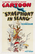 "Movie Posters:Animated, Symphony in Slang (MGM, 1951). One Sheet (27"" X 41""). It's literally raining cats and dogs in this MGM cartoon from the anim..."