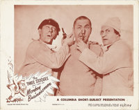 "Monkey Businessmen (Columbia, 1946). Lobby Card (11"" X 14""). This comedy short stars The Three Stooges as inep..."